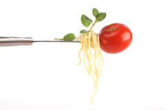 Italian food on a fork Stock Photo