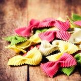 Italian Food - Fresh Italian Pasta on old wooden background clos Royalty Free Stock Photo