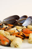 Italian food: gnocchi with mussels Stock Photo