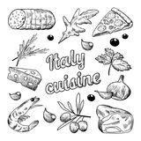 Italian Food Hand Drawn Doodle. Pizza Cheese Olives and Shrimps Royalty Free Stock Photo