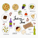 Italian food hand drawn elements. Italian traditional food hand drawn icons. Italian cuisine menu design. Vector illustration with pizza, pasta, risotto Stock Image