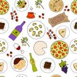 Italian food hand drawn seamless pattern. Italian cuisine menu design. Colorful vector illustration with pizza, pasta, risotto ossobuco, orecchiette, tiramisu stock illustration