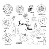 Italian food hand drawn sketch. Italian traditional cuisine Royalty Free Stock Images