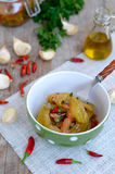 Italian food. Homemade green tomatoes in oil. Stock Photos