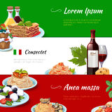 Italian food horizontal banners vector set Stock Photo