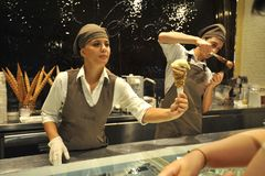 Italian food: icecream famous shop Venchi in Florence , Italy stock photography