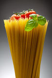 Italian food icons. Close up of basic ingredients for italian pasta: spaghetti, tomato and basil Royalty Free Stock Photos