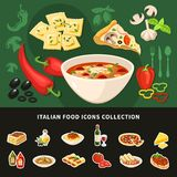 Italian Food Icons Collection stock illustration