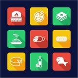 Italian Food Icons Flat Design Stock Image