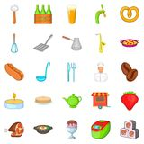 Italian food icons set, cartoon style. Italian food icons set. Cartoon set of 25 italian food vector icons for web isolated on white background Stock Images