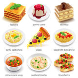 Italian food icons vector set. Italian food icons detailed photo realistic vector set royalty free illustration