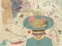 Italian food, illustration Stock Image