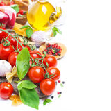 Italian Food Ingredients - Cherry Tomatoes, Basil And Pasta Royalty Free Stock Image
