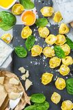 Italian food and ingredients, handmade tortellini with spinach and ricotta Stock Images