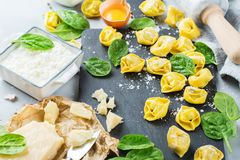 Italian food and ingredients, handmade tortellini with spinach and ricotta Royalty Free Stock Photos