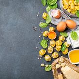 Italian food and ingredients, handmade tortellini with spinach and ricotta royalty free stock image