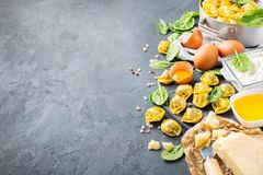 Italian food and ingredients, handmade tortellini with spinach and ricotta stock photography
