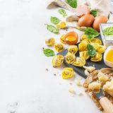 Italian food and ingredients, handmade tortellini with spinach and ricotta royalty free stock images