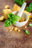 Italian food, ingredients for pesto Royalty Free Stock Photo