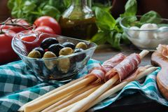 Italian food ingredients at the table. Italian food ingredients, Selective focus royalty free stock photography