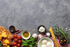 Italian food ingredients on stone background Royalty Free Stock Image