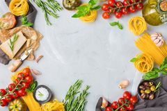 Free Italian Food Ingredients With Pasta, Tomatoes, Cheese, Olive Oil, Basil Royalty Free Stock Image - 118245906