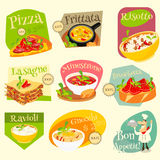 Italian Food Labels Set Royalty Free Stock Images