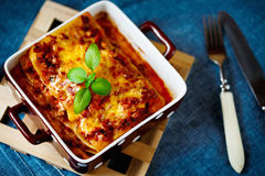 Italian Food. Lasagna plate. Royalty Free Stock Photo