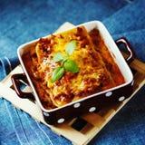 Italian Food. Lasagna plate. Stock Photo