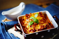 Italian Food. Lasagna plate. Stock Image