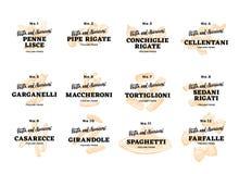 Italian Food Logos Set Stock Photos