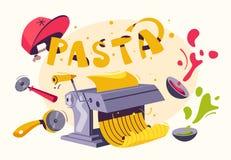 Italian food. Making delicious pasta. Cartoon vector illustration. Italian cuisine. Making delicious pasta. Cartoon vector illustration. Great dinner. For web stock illustration