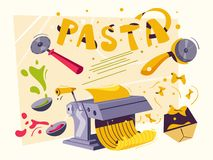 Italian food. Making delicious pasta. Cartoon vector illustration. royalty free stock photography