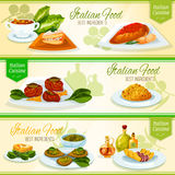 Italian food and mediterranean cuisine banners Royalty Free Stock Image