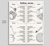 Italian food menu of different pasta, pizza, soup and dessetrt. Design template for gourmet retaurant. Italian menu Royalty Free Stock Image