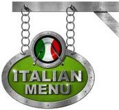 Italian Food Menu - Metallic Sign Stock Photo