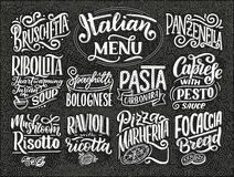 Italian food menu - names of dishes. Lettering , stylized drawing. Vector illustration. Background for restaurant, cafe, showcase, vector illustration