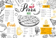 Italian food menu for restaurant 2. Italian food menu for restaurant and cafe. Pizza and Pasta vector concept. Design template with different hand drawn stock illustration
