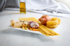 Italian food. Is one of the healthiest in the world, therefore is included in the Mediterranean diet stock images
