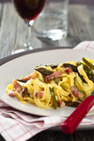 Italian food. Pasta Carbonara. Stock Photography