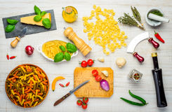 Italian Food and Pasta with Cooking Ingredients Royalty Free Stock Images