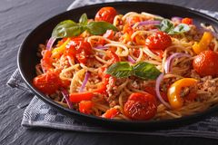 Italian food: pasta with minced meat and vegetables Royalty Free Stock Image