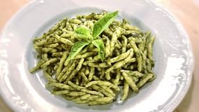 Italian food. Pasta and pesto stock video