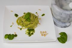 Pasta pesto home made royalty free stock images