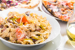 Italian food pasta and pizza Stock Photography