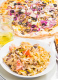 Italian food pasta and pizza Royalty Free Stock Photography