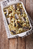 Italian food: pasta with sardines, fennel, raisins and pine nuts Royalty Free Stock Photo