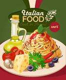 Italian food. Pasta, spaghetti, olive oil. Stock Photos