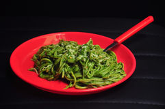Italian food, pasta with spinach sauce Stock Photography