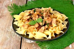 Italian food with pasta tagliatelle,sun dried tomatoes,basil and chicken meat on green cloth on wooden background Royalty Free Stock Photography